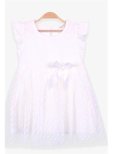 Breeze Kız Çocuk Elbise Basic Tüllü Fiyonklu Ekru  Ekru